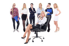 Business team concept - business woman and her workers isolated Royalty Free Stock Image
