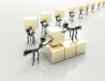Business team concept.3d ants with cubes. Royalty Free Stock Images