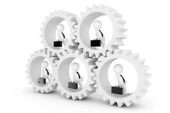 Business Team Concept. 3d Businesmans in Clogwheels. 3d Renderin Stock Photography