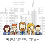 Business team concept. Business people outline icons on the city scape background. Vector illustration Royalty Free Stock Photo
