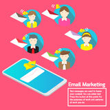 Business team concept smartphone notification email marketing. Vector design smartphone email marketing direction notification business team Royalty Free Stock Photos