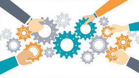 Business team concept. Business team and teamwork concept, business people joining gears together and composing a machine Royalty Free Stock Image