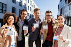 Business team with conference badges in city Royalty Free Stock Image