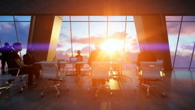Business team in conference room, rear view sunset, 3d sketch to color, zoom in stock video