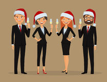 Business team congratulate you on Christmas holidays. Congratulations on Christmas holidays. Business team dressed in Christmas hats and in business suits Stock Photography