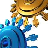 Business Team Cooperation. With two wheels made of gears or cogs with human worker symbols connected in a productive network creating as a group new success in Royalty Free Stock Image