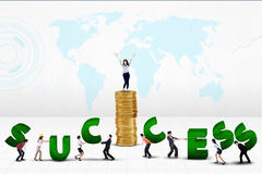 Business team creating word of success royalty free illustration