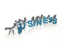 Business team 3d cartoon ants Stock Images
