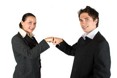 Business team deal or confrontation. Two business people ,man and woman have a deal or a confrontation and gesturing with hands,check also Business people Royalty Free Stock Image