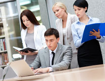 Business team discuss something Royalty Free Stock Photo