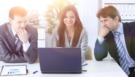 Business team discusses work plan Stock Images