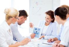Business team discussing graphs in office Royalty Free Stock Photo