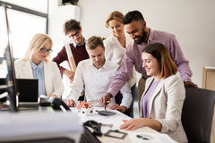 Business team discussing house project at office Stock Photography