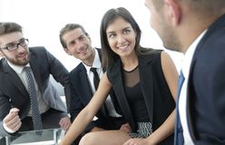Business team discussing with Manager work issues Stock Images