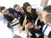 Business team discussing with Manager work issues Stock Photography