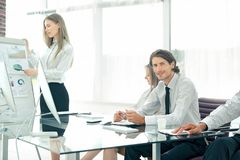 Business team discussing a new business plan royalty free stock photography