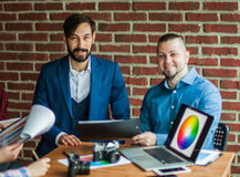 Business team discussing new project workplace in a modern offic Royalty Free Stock Photos