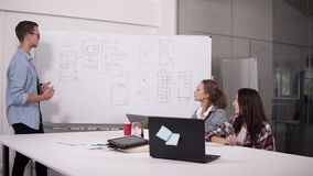 Business team discussing project or idea. Couching, executive, startup concept. Two women sitting at office desk and man. Making presentation near the stock footage