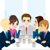 Business Team Discussing. Small business team discussing new projects and documents at office while drinking coffee stock illustration
