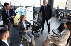 Free Business Team Discussing Together Business Plans In Office Stock Image - 161156591