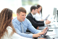 Business team discussing together business plans Royalty Free Stock Image