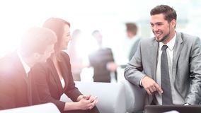 Happy business people talking on meeting at office Royalty Free Stock Image