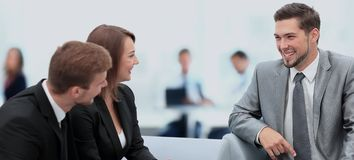 Happy business people talking on meeting at office Royalty Free Stock Photography