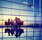 Business Team Discussion Meeting Airplane Take off Concept.  stock image