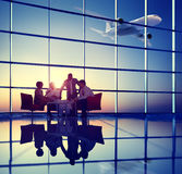 Business Team Discussion Meeting Airplane Take off Concept Royalty Free Stock Photos