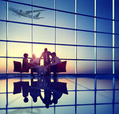 Business Team Discussion Meeting Airplane Take off Concept Royalty Free Stock Images