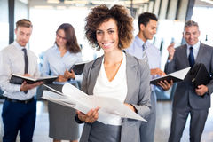 Business team with document and organizer Stock Photography