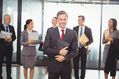 Business team with document and organizer Stock Images