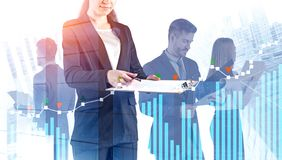 Business team with documents in city, graphs royalty free stock images