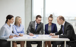 Business team with documents having discussion stock image