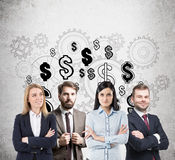 Business team, dollar signs and gears Stock Image