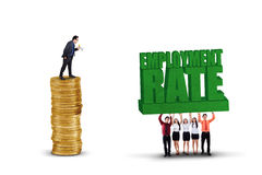 Business team and employment rate text Stock Photo