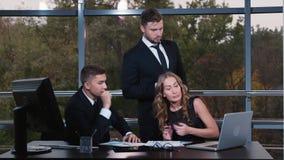 Business team enjoys success. HD video stock video footage