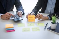 Business team executive accounting analyzing and calculation on valuation data investment fund looking at report, sticky note stock images