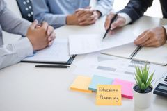 Business team executive accounting analyzing and calculation on valuation data investment fund looking at report, sticky note royalty free stock images