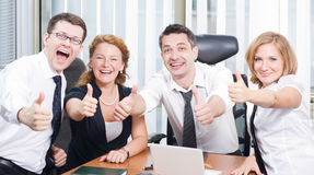 Business team express positivity Stock Photo