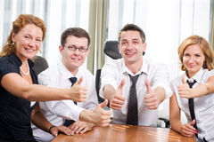 Business team express positivity. On meetingin board room in Hi Res royalty free stock image