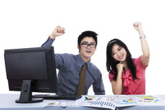 Business team expressing success isolated Royalty Free Stock Images