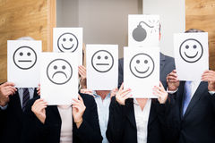 Business Team Feeling Sad, Happy Or Neutral Royalty Free Stock Photos