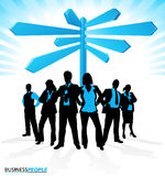 Business Team find Direction. Illustration of a group of Male and Female Business People in a Dynamic Pose depicted as silhouettes standing in front of a career Royalty Free Stock Image