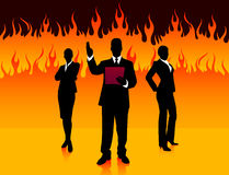 Business Team on Fire Background Stock Images