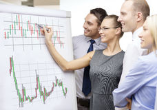 Business team with flip board having discussion. Business, money and office concept - smiling business team with forex chart on flip board having discussion stock images