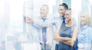Business team with flip board having discussion Royalty Free Stock Photography
