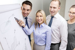Business team with flip board having discussion Stock Photos