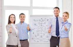 Business team with flip board showing thumbs up Royalty Free Stock Image