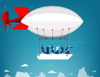 Business team flying in the sky on hot air balloon. Looking over. Mountain peaks. Concept business illustration. Vector flat Stock Images